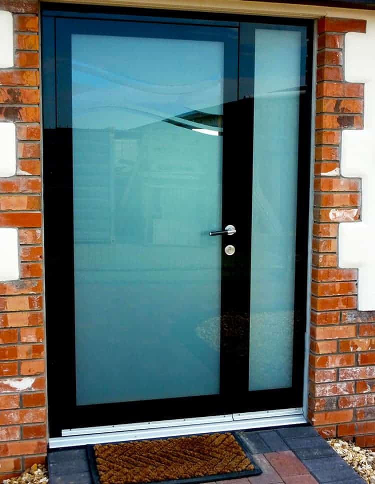 Black and Clear Glass Door