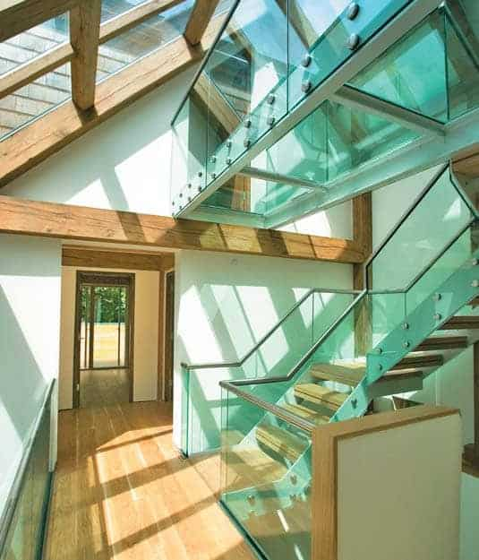view of glass floor with stairs