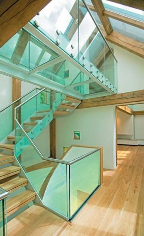 Glass floor and glass stairs