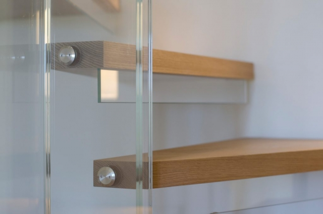 Close up of floating timber stair treads