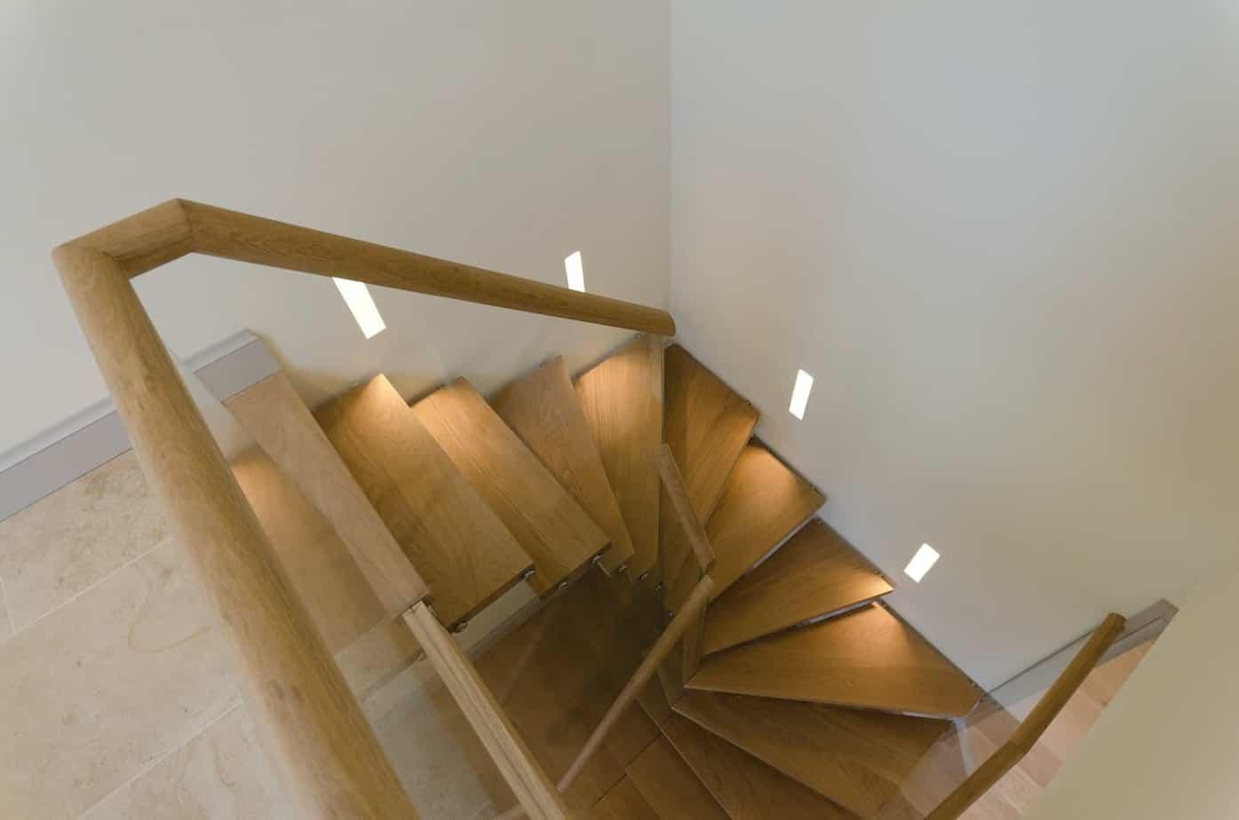 timber staircase angled