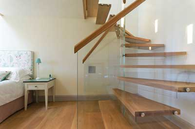 Timber and glass spiral staircase