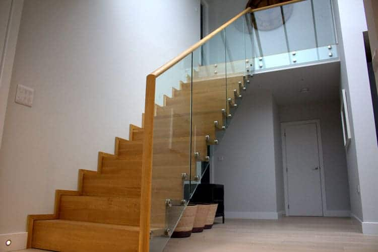 Timber Staircase with point fixed glass