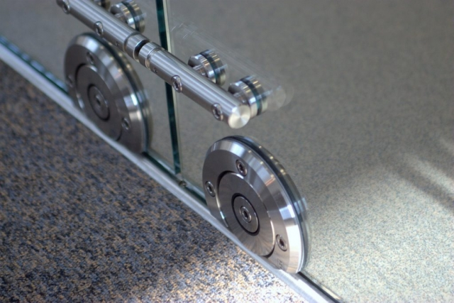 chrome rollers for glass door