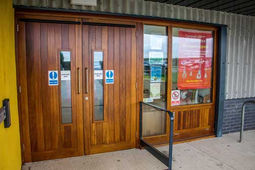 Timber Entrance doors at Cornwall Air Ambulance