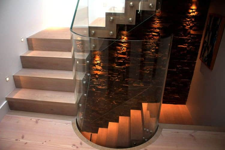 Curved glass and timber staircase
