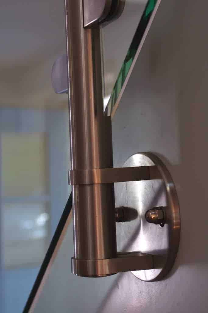 close up of post and rail balustrade fittings