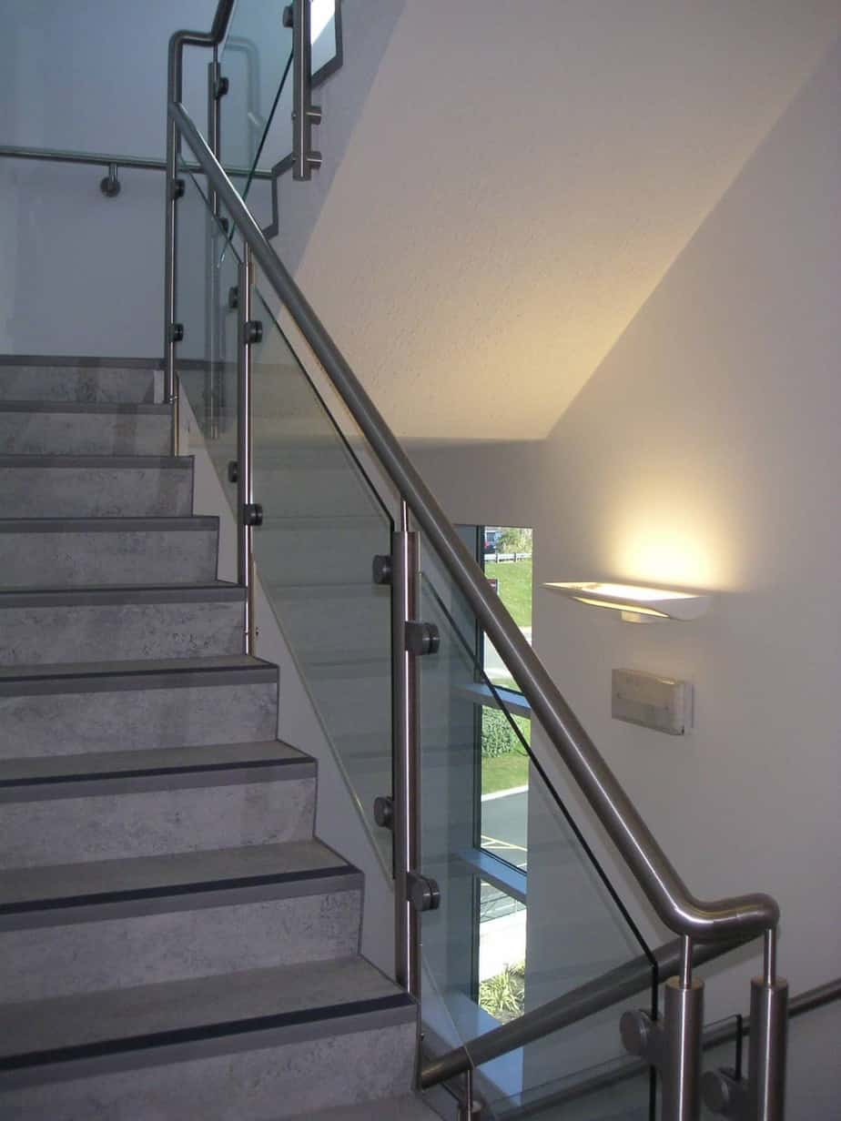 Post and rail Glass Balustrade on stairs