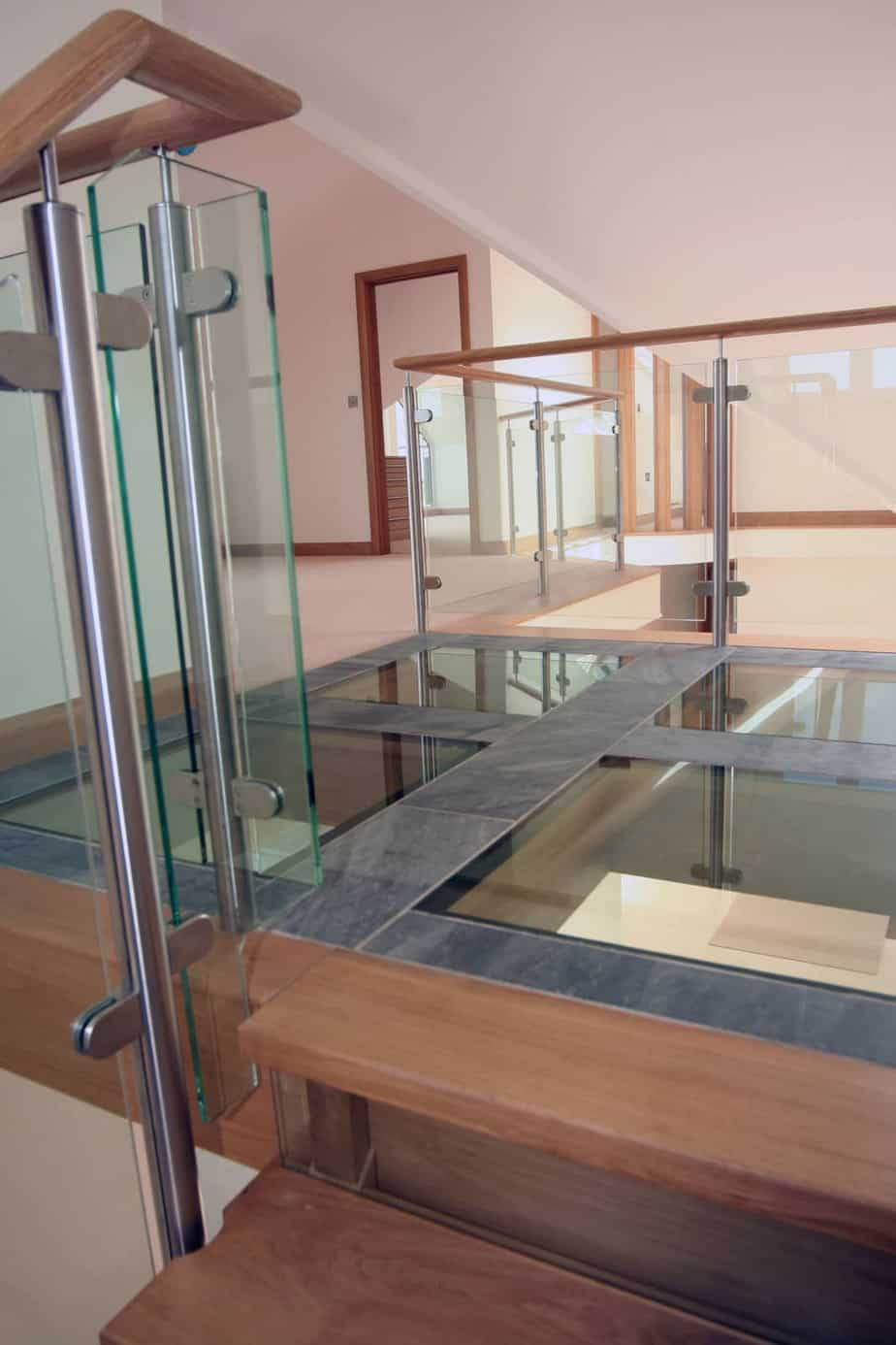 Glass Floor With Post and Rail Balustrade