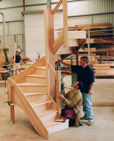 Stairs being made in Camel Joinery