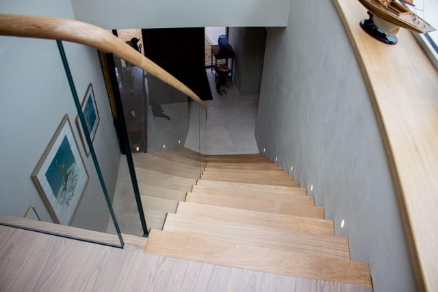 Oak & Glass Floating Staircase with oak handrail