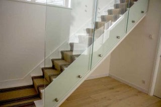 Point Fixed Glass Balustrade on Timber Staircase