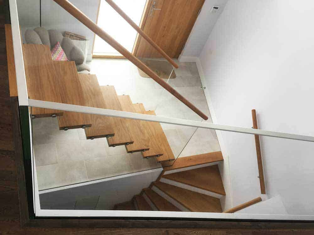 Oak Staircase with Glass Banister