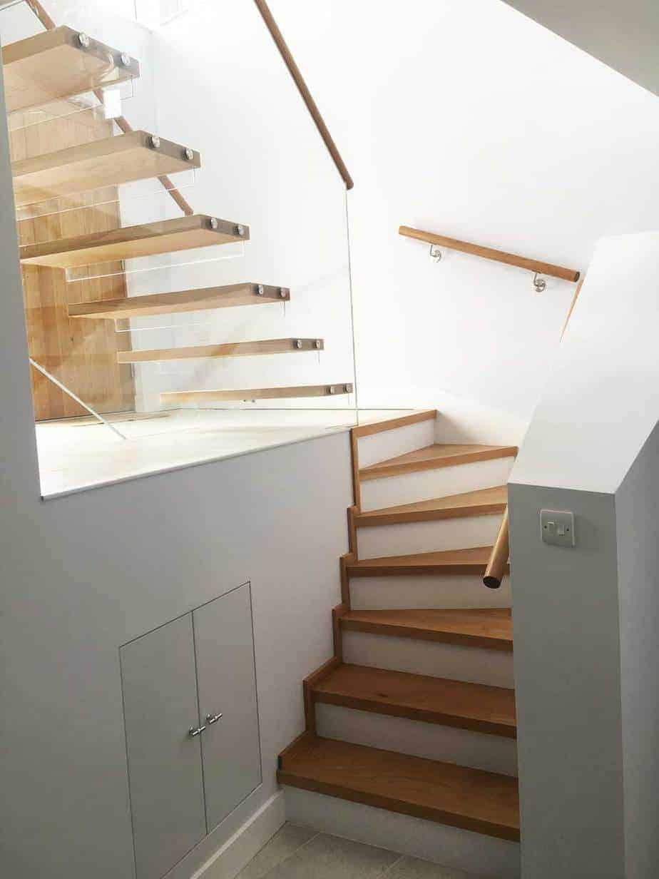Oak Staircase with Glass Railings