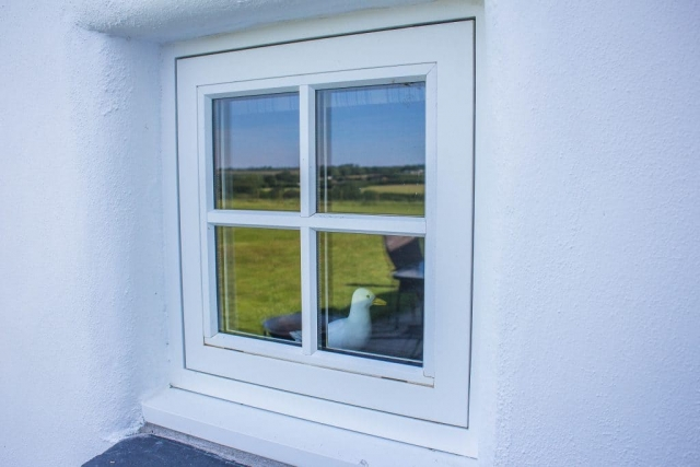 Square white timber window