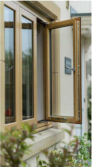 opened flush casement window