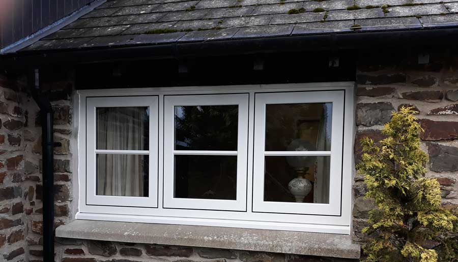 White flush casement window