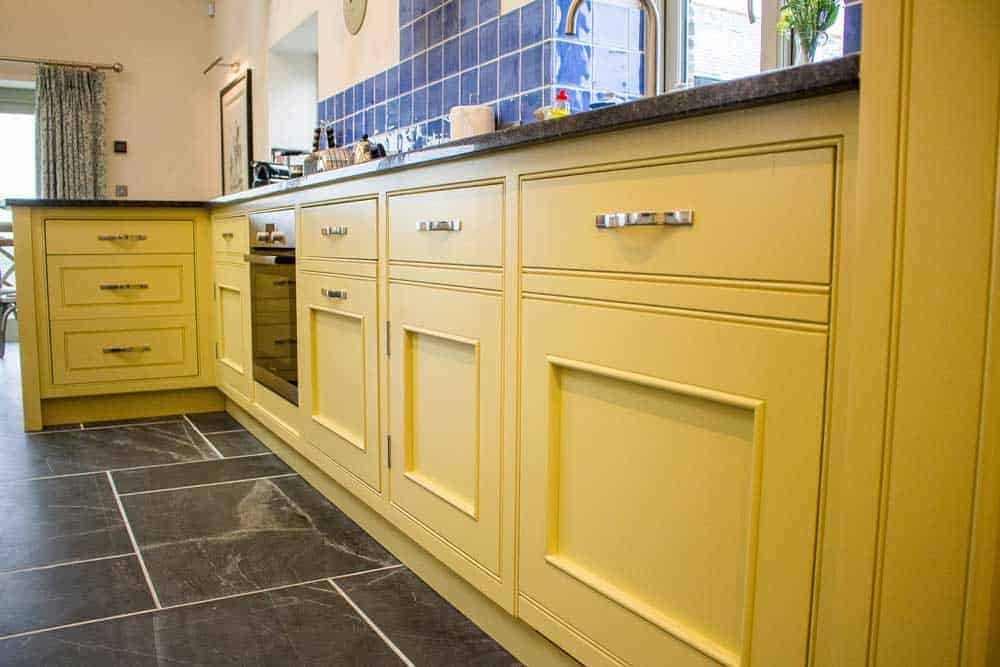 Yellow bespoke kitchen Units