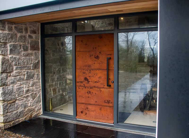 Contemporary Front Entrance Door In Iron Finish