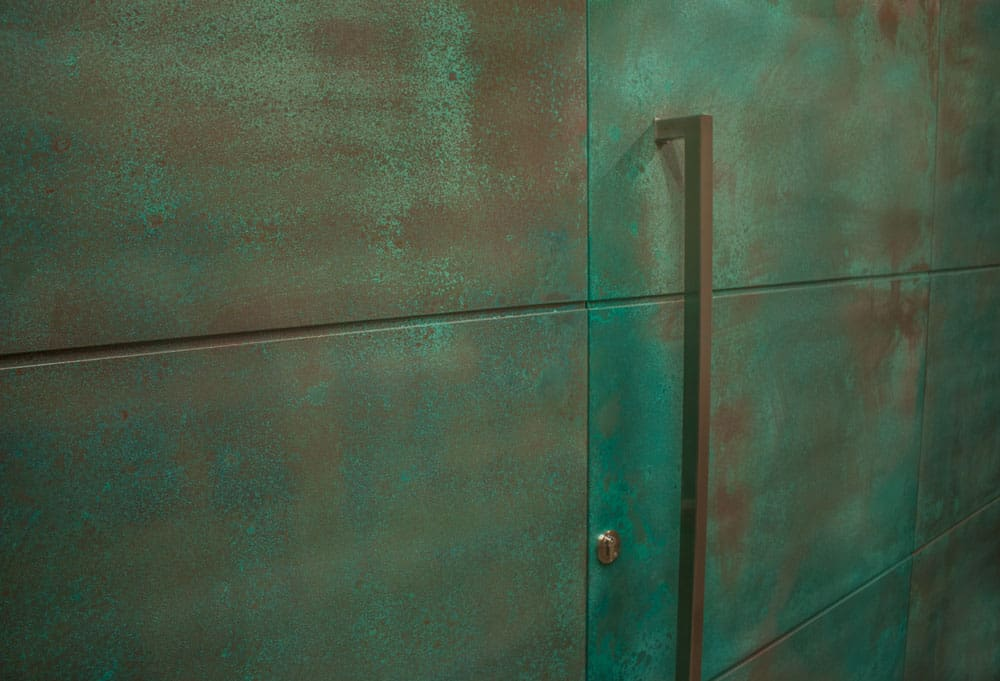 Entrance Door Copper Patina With Side Panels