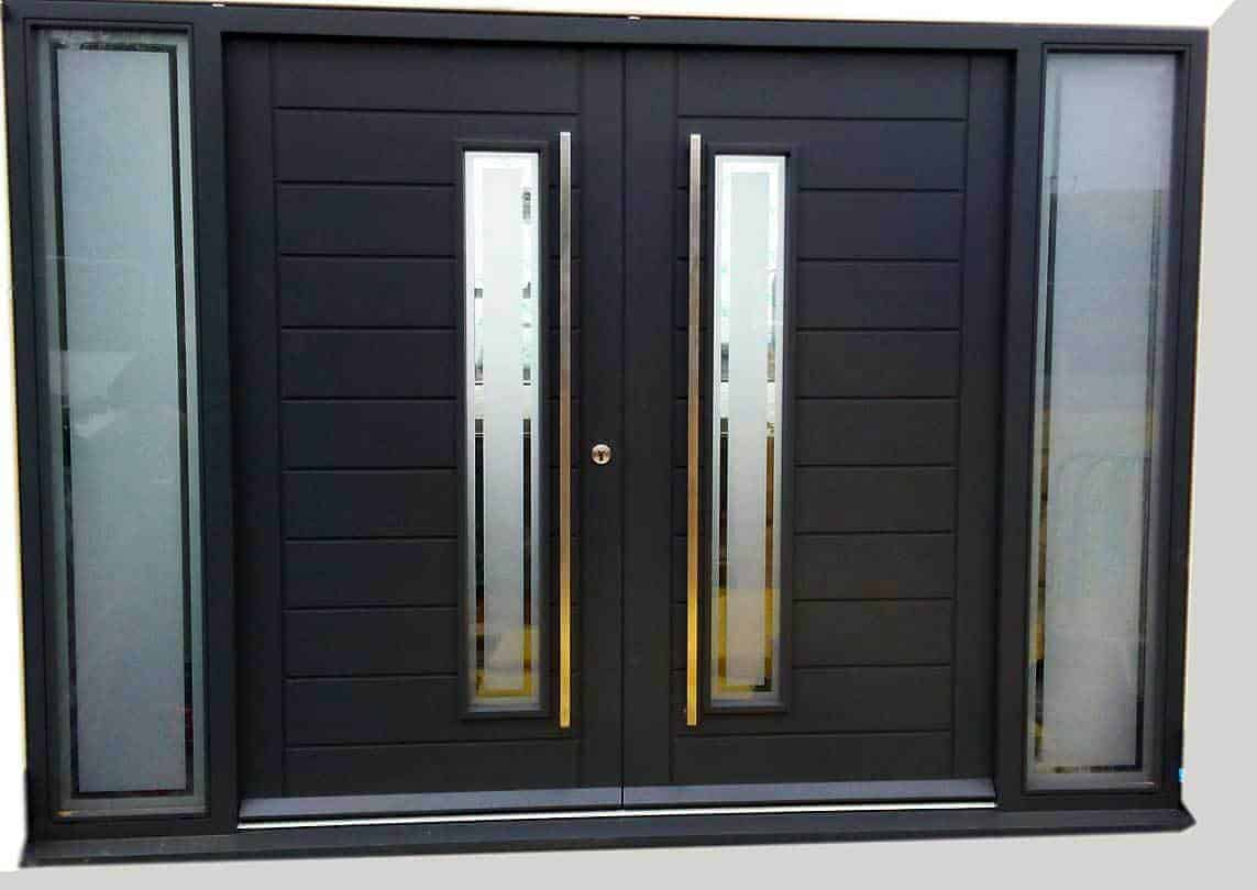 black double doors with sidelights