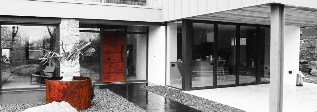 Contemporary Iron Metal Finish Entrance Door