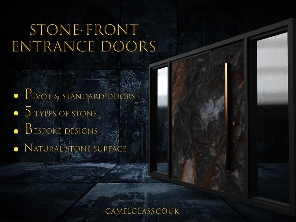 Stone Front Entrance Doors with sidelights