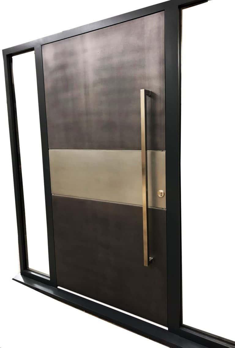 Liquid metal Entrance door in gun smoke metal with tin strip