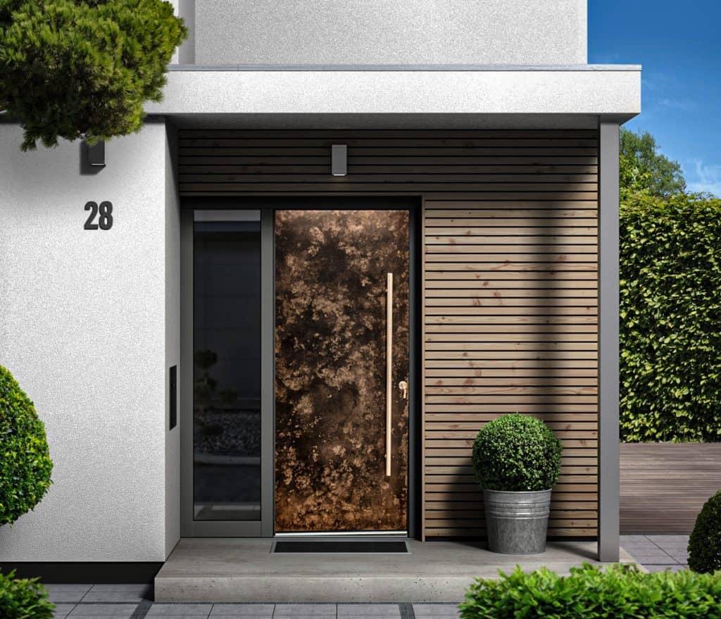 Contemporary Liquid Metal Textured Entrance Door