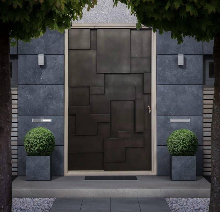 Bespoke Liquid Metal Front Entrance Pivot Door