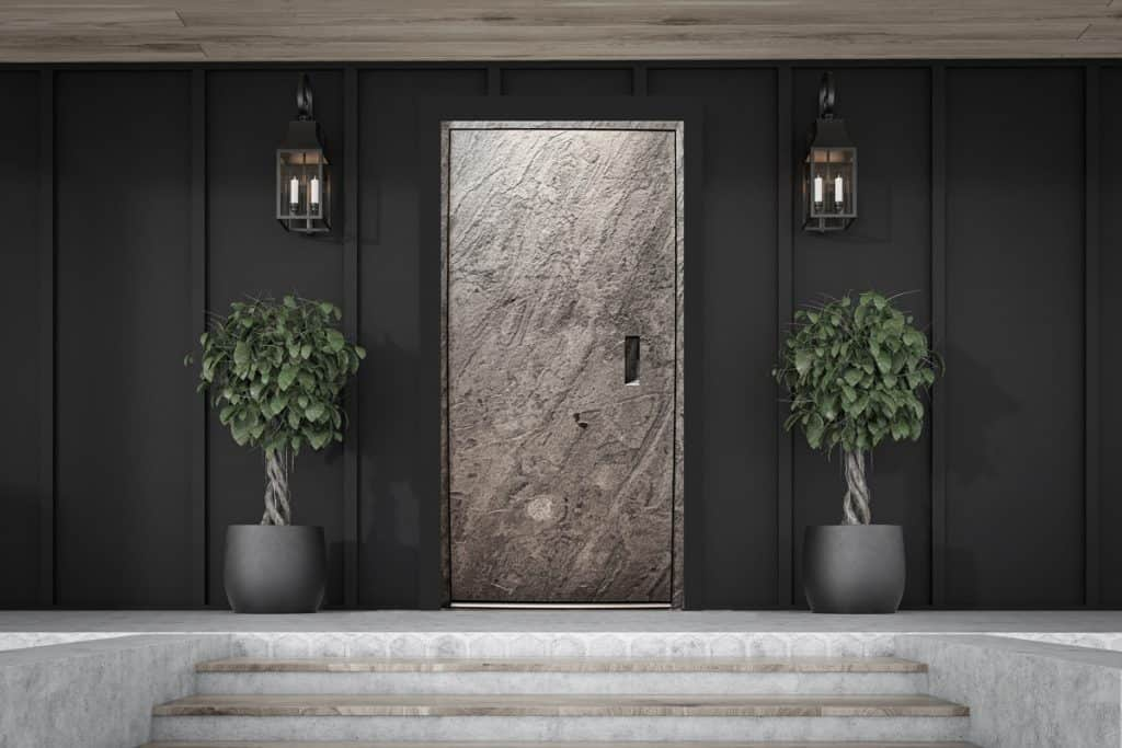 Contemporary Stone Front Entrance Door With Inset Handle