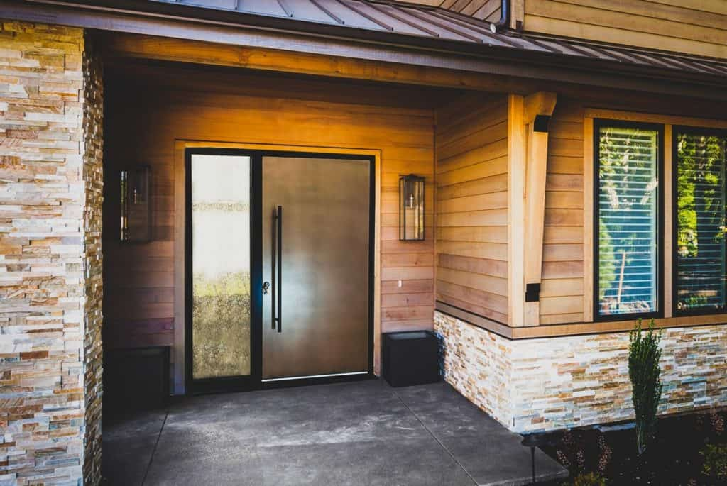 Bronze Front Entrance Door With Sidelight