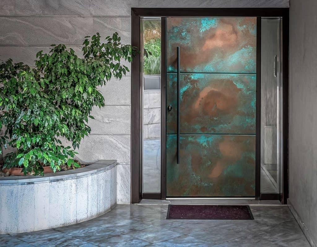 Modern Front Entrance Door In Copper Patina