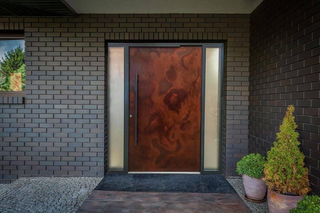 Front Entrance Door In Oxidised Iron