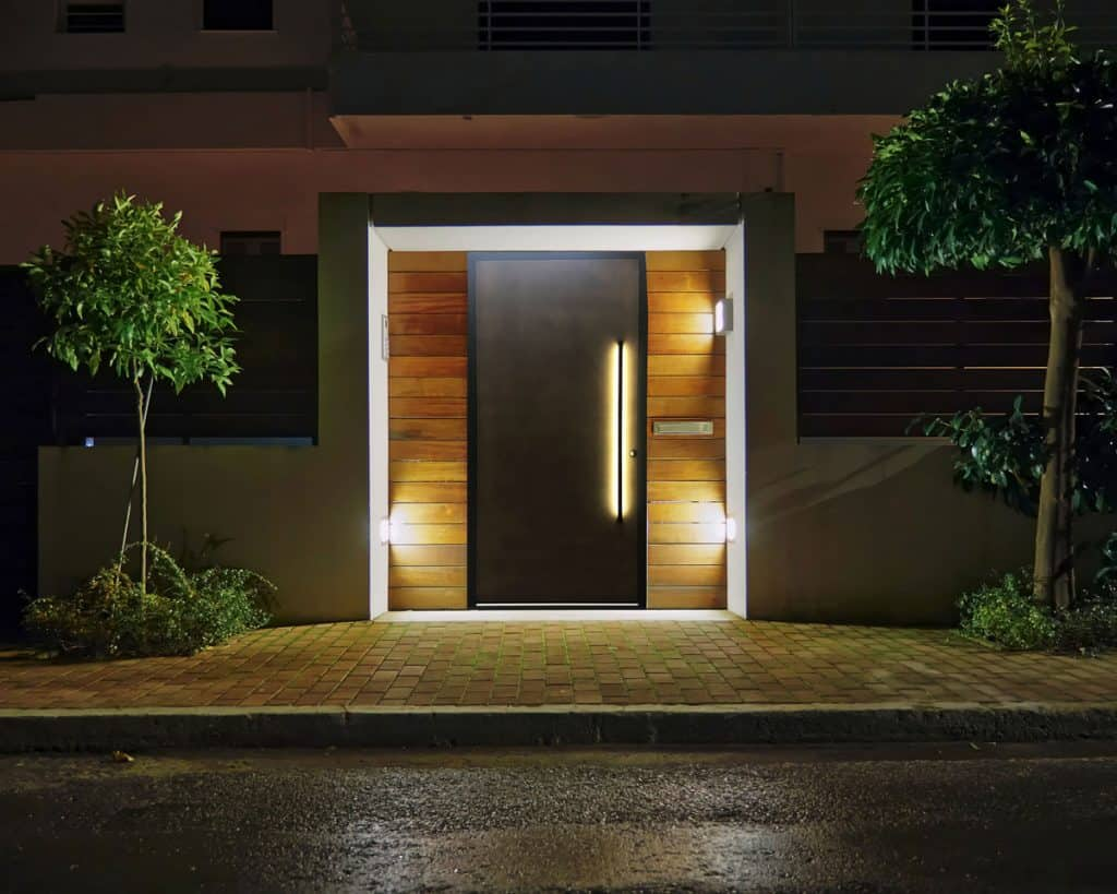 Bronze Front Entrance Door With LED Lighting