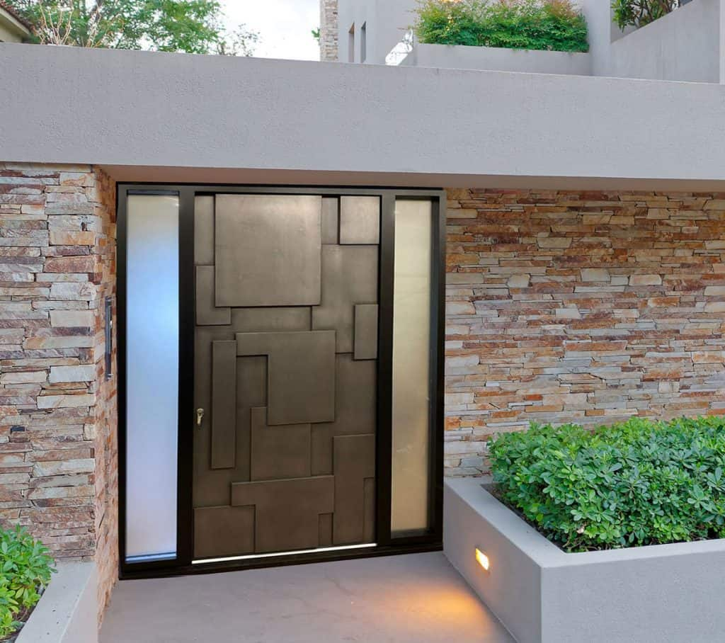 Front Entrance Door With Raised Panels and Sidelights