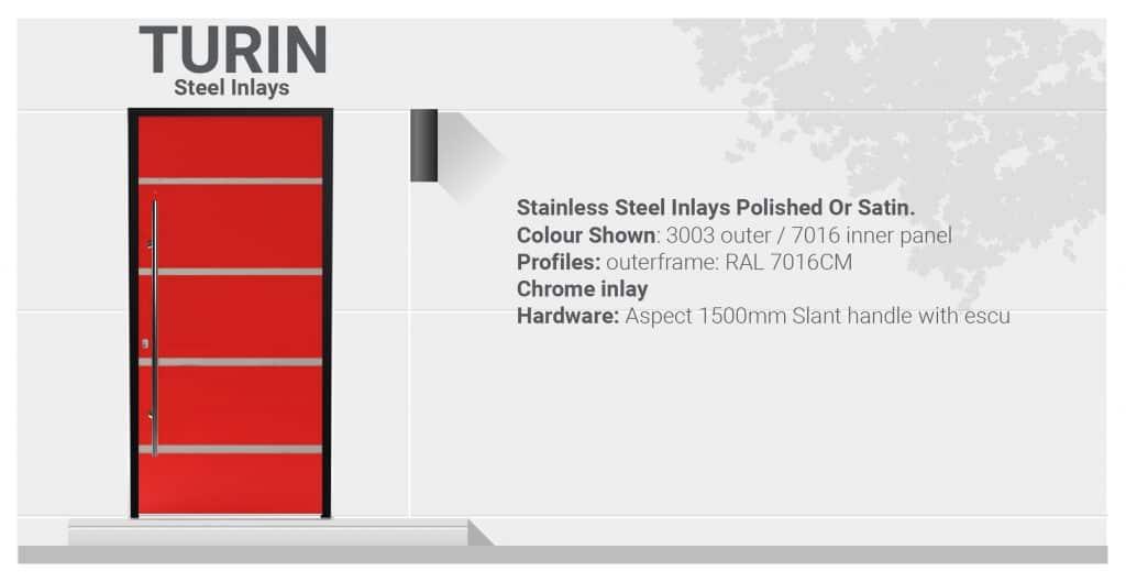 Turin aluminium front door specifications