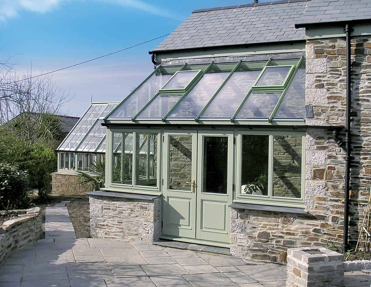 green traditional conservatory